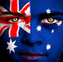 Australian flag painted on child's face.