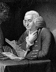 Ben Franklin reading, wearing glasses