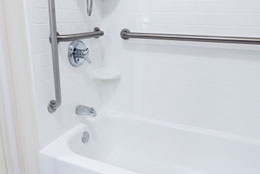 Grab bars help make bathtime much safer.