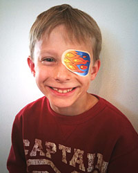 Children wearing Eye-Doodle eye patch stickers.