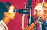 A tonometer measures intraocular pressure.