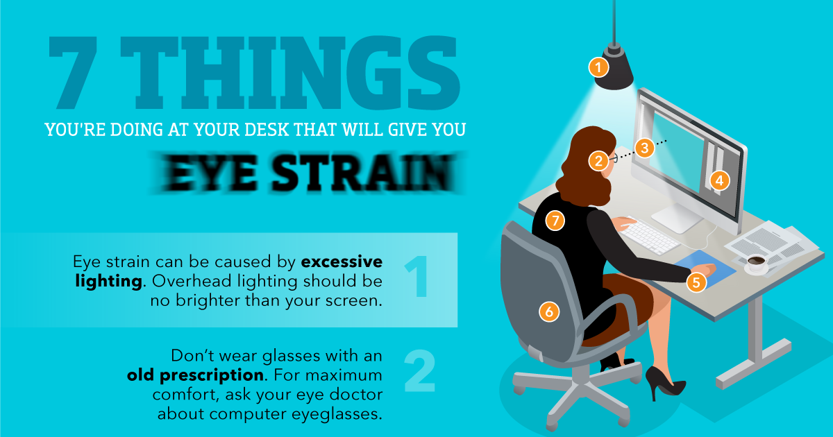 Infographic 7 Things Youu0027re Doing at Your Desk That Will Give You Eye Strain - AllAboutVision.com  sc 1 st  All About Vision & Infographic: 7 Things Youu0027re Doing at Your Desk That Will Give You ... azcodes.com