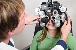 The eye doctor uses a phoropter to determine your prescription for eyeglasses and contact lenses.