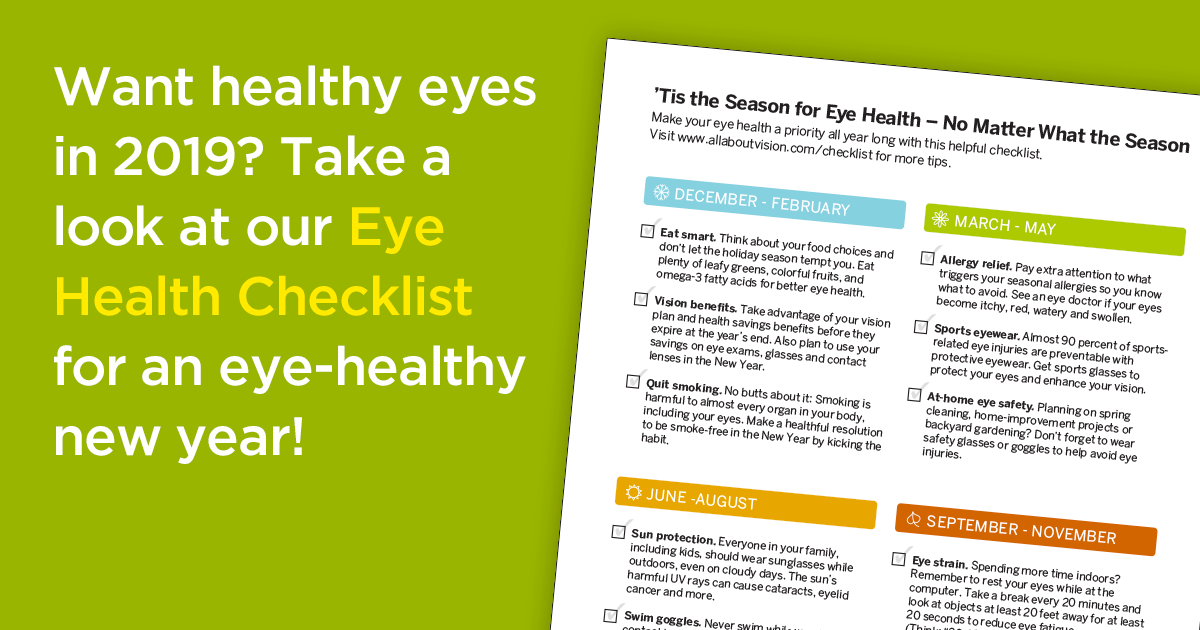 2019 Checklist For Better Vision And Eye Health
